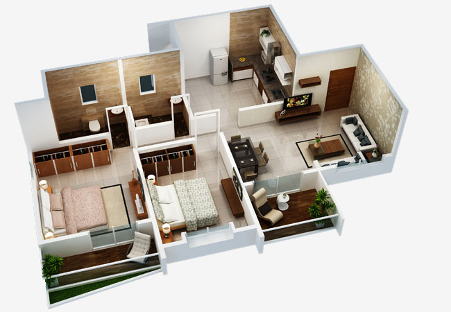 Pearl Residency 2 BHK Middle Isometric View